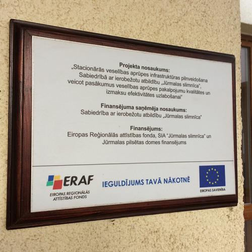 Plāksne ES fonds Jūrmalas slīmnica